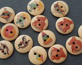 10 buttons pattern toys wooden 1.5 cm