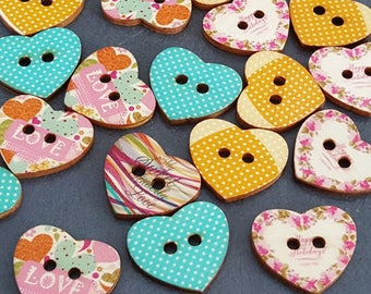 10 buttons wooden 2.3 cm printed, knit, vontage buttons scrapbooking buttons buttons