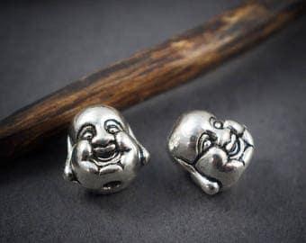 2 pcs - silver metal Buddha head • 10mm beads