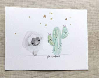 Original illustration with watercolor sheep and cactus