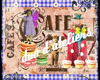 """""""the gourmet coffee"""" digital image to make yourself textile transfer."""