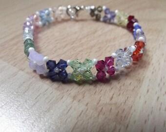 Swarovski bicone Crystal beaded bracelet, handmade.