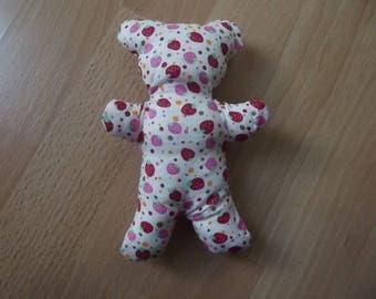 Teddy bear plush stuffed white and pink, handmade.