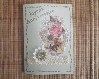 """Happy birthday"" card n ° 2, handmade."