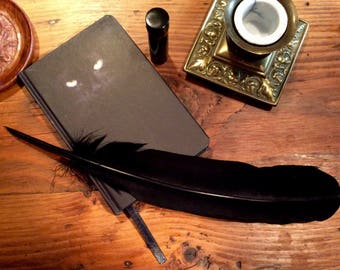 Black cat journal with a quill feather pen and bottle of Dragons  Blood Ink, Wican ,Witchcraft ,Pagan , cat lover, Red ink, Book of Shadows