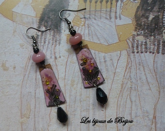 Earrings Asian enameled copper and glass beads
