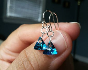 Bermuda Blue Swarovski Crystal Earrings on Sterling Silver