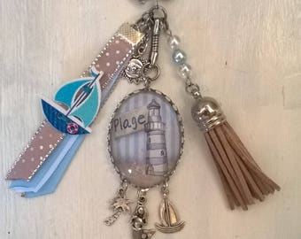 """Jewelry bag or key ring with cabochon """"beach"""" theme"""