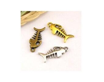5 pendants accessories jewelry 8x18.5 mm fish charm