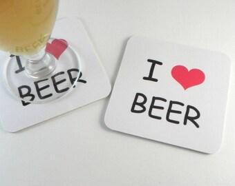 Underneath glass beer coaster I love Beer beer coasters