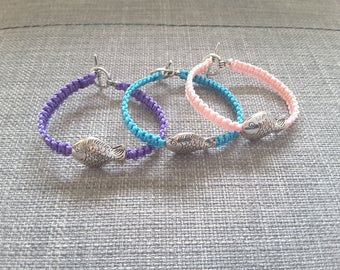 Fish and purple macrame kids bracelet
