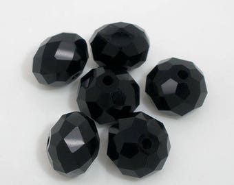 -10mm - black glass faceted beads.