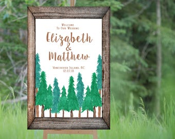 Forest 1 Welcome Wedding Sign Printable, Wedding Welcome Sign, Personalized Wedding Sign, Large Welcome to Our Wedding Sign