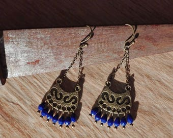 Ethnic earrings blue faceted drops.