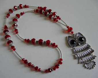 NECKLACE RED - OWL BEADS OWL