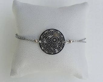 Bracelet adjustable silver print tone on tone
