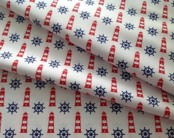 New - Printed fabric 100% cotton Navy