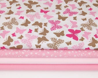 Printed fabric 100% cotton pink butterfly