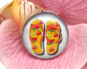 2 cabochons 12 mm glass flip flops Beach 1-12 mm