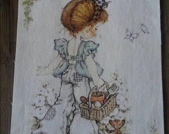 Fabric tile 15 X 20 cm / sew or glue / girl illustration