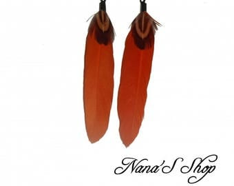 Orange and natural feather earrings