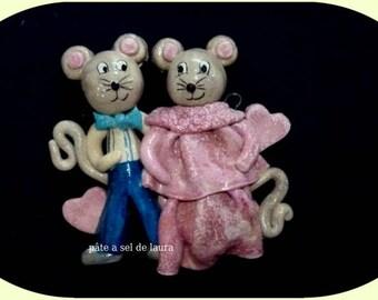 a cute couple of mice in salt dough