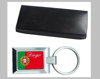 Metal Keychain, name and flag choice with gift box