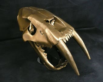Metal Smilodon / Sabre Tooth Tiger Skull sculpture