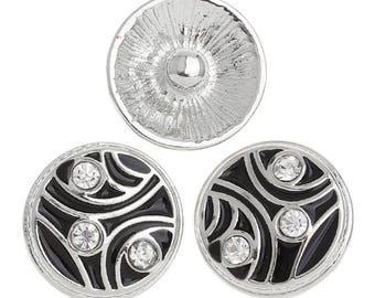 Snap pr DIY round 20mm white rhinestone black enamel Bracelet