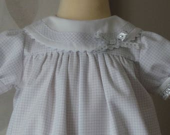 romper 3 month gray clear checkered cotton