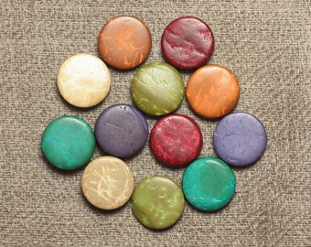 20pc - 10-11mm multicolored 4558550001207 pucks coconut wood beads