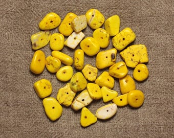 10pc - synthetic Turquoise beads - 6-12mm yellow 4558550028228 rock Chips