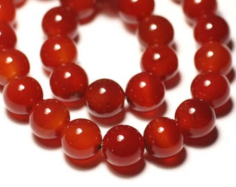 Stone - carnelian ball 14 mm bead 1pc - big hole 3mm - 8741140019386