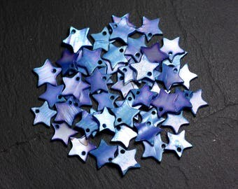 10pc - charms beads mother of Pearl 12mm 4558550021632 blue stars