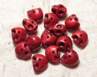 10pc - beads skulls Turquoise 14mm red 4558550030313 skulls