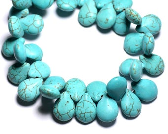 20pc - beads Turquoise synthetic drops 16 mm blue Turquoise - 4558550031969