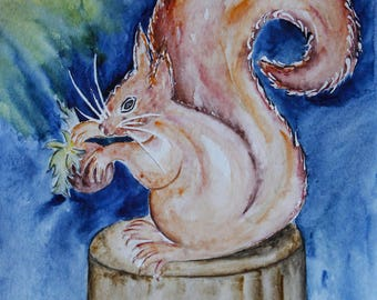 Original illustration painted in watercolor on ARCHES 300 g/m²petit woodland squirrel