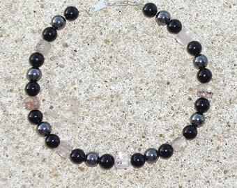 Margarita quartz rutile, black agate and hematite bracelet