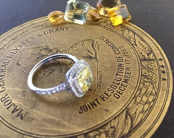 Golden Beauty! Tiffany & Co 1.57tcw Canary Diamond and Diamond Engagement Ring Plat