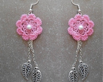 rose Crochet earrings flower