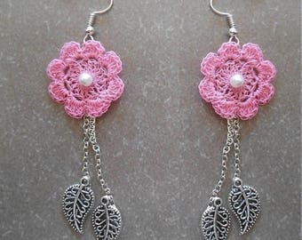 Earrings pink flower, stiff