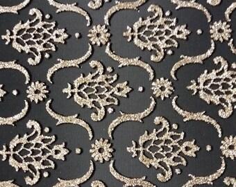 Black flock Twill denim fabric black sequin gold 150 cm width