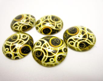 5 cabochons Glas 14mm gears, spirals, Brown and yellow gold, steampunk, mechanical clock.