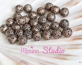 10 pearls 8mm serrated coffee 8mm (t02)