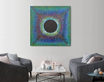 Orb with Blue-Green Burst - Limited Edition Print
