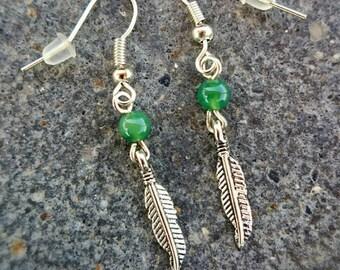Sora - green Agate feather earrings