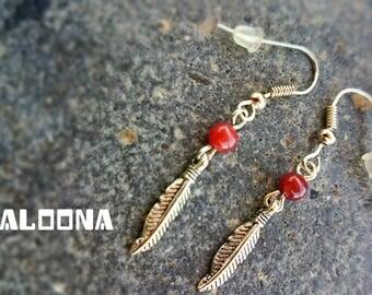 Sora - Burgundy Agate feather earrings