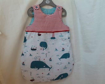 Sleeping bag sleeping bag quilted baby theme sailor whale and stripes patterns