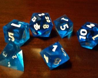 Blue GEM dice set of 6