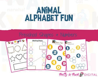Animal Alphabet Fun with Shapes & Numbers